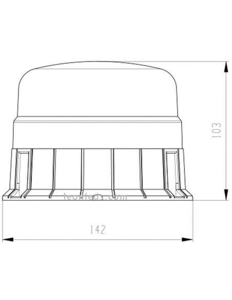 Medidas Rotativo LED recargable magnético Homologado NR65 TA1 | LeonLeds Iluminación