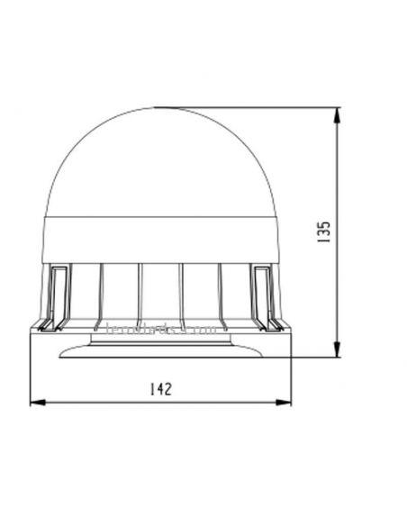 Medidas Rotativo LED batería magnetico Homologado NR65 TA1   LeonLeds Iluminación