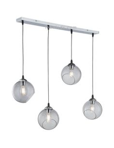 Lámpara de techo 4 bolas de cristal Clooney Smooke R30074054 | LeonLeds Iluminación