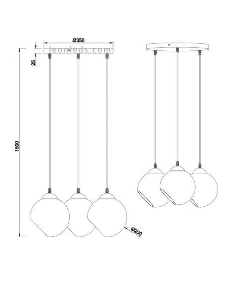 Dimensiones Lámpara de techo cristal de estilo moderno | LeonLeds Iluminación
