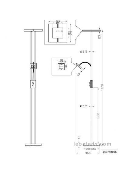 Dimensiones Lámpara de pie LED cuadrada Avignon R42782106 | LeonLeds Iluminación
