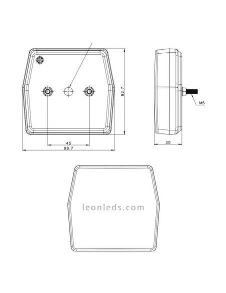 Dimensiones Faro LED delantero con intermitente y posición Fristom FT-223 LED | LeonLeds Iluminación