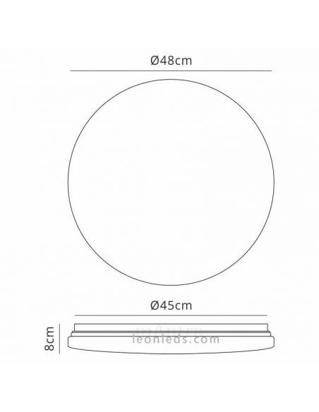 Dimensiones plafón LED redondo 48Cm Zero II 5942 | LeonLeds Iluminación