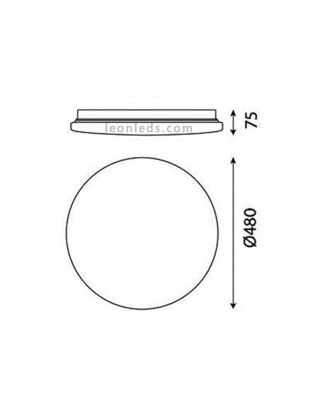 Dimensiones Plafón LED con mando a distancia Zero Smart 5946 | LeonLeds Iluminación