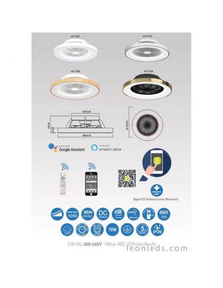 Plafón LED Ventilador blanco Tibet de Mantra Iluminación 7123 | LeonLeds Iluminación