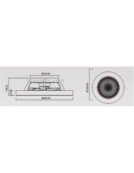 Dimensiones Ventilador de techo LED Tibet Plateado 7125| LeonLeds Iluminación