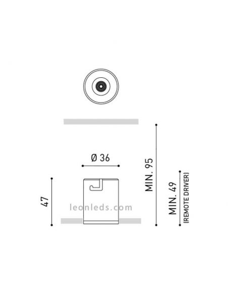 Medidas Shot Light LED de Arkos Sin bordes -Trimless -