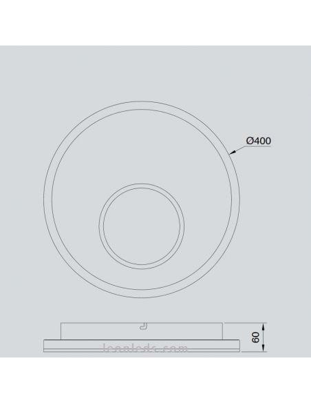 Dimensiones Plafón LED Krater con Mando a distancia Mantra 6546 | LeonLeds Iluminación