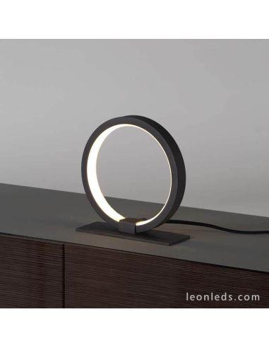 Lámpara de mesa LED redonda negra KiteSurf  7195 7145 Mantra   LeonLeds Iluminación