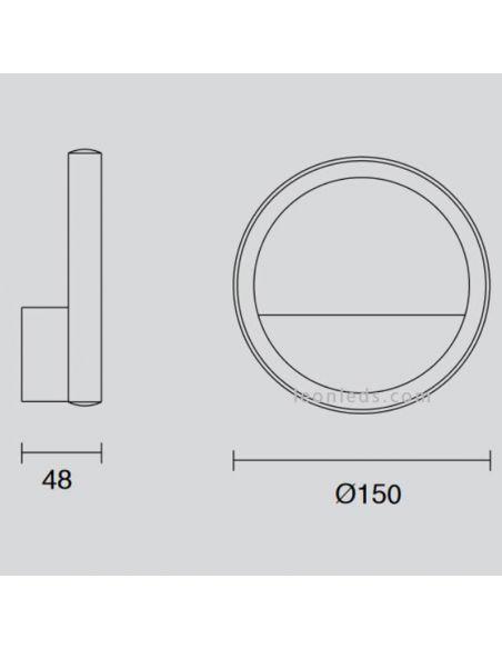 Dimensiones Aplique LED redondo KiteSurf 7144 Mantra | LeonLeds Iluminación