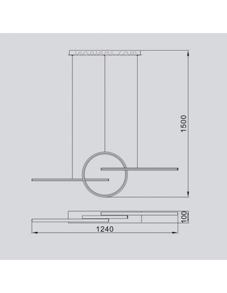 Dimensiones Lámpara colgante LED lineal KiteSurf 7140 7190 Mantra | LeonLeds Iluminación