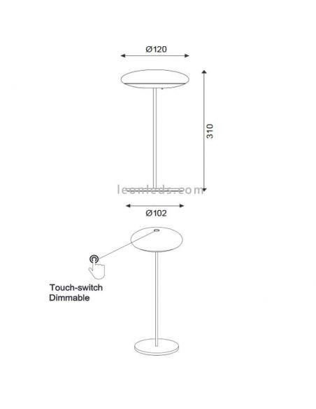 Dimensiones Sobremesa LED exterior portatil negra Klappen 7096 Mantra | LeonLeds Iluminación