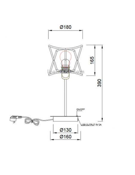 Dimensiones Lámpara de mesa de exterior USB polinesia 7134 Mantra Santiago Sevillano | LeonLeds Iluminación