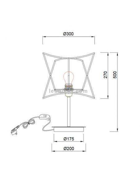 Dimensiones Lámpara de mesa de exterior polinesia 7137 Mantra | LeonLeds Iluminación
