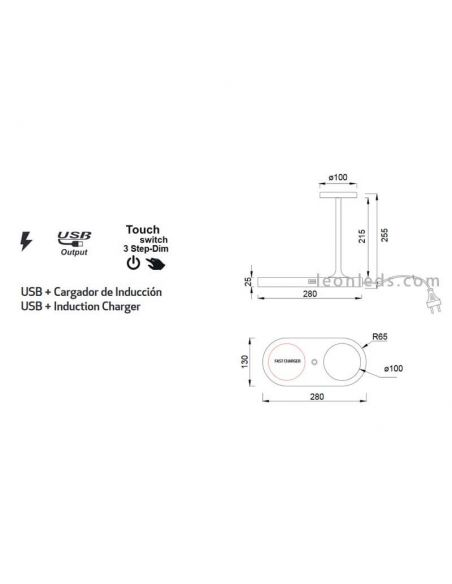 Dimensiones Lámpara de mesa LED con carga inalámbrica 7291 7290 | LeonLeds Iluminación