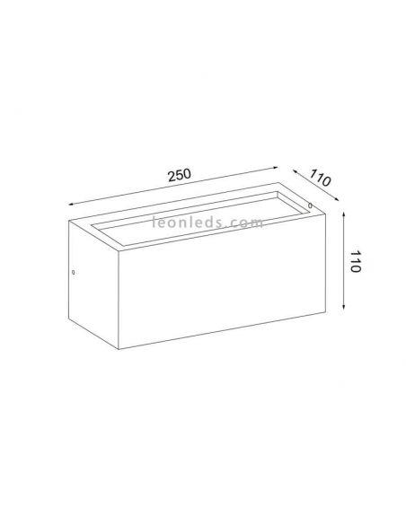 Dimensiones Aplique exterior rectangular Utah de Mantra | LeonLeds Iluminación