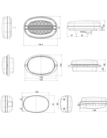 Dimensiones Piloto LED 3 funciones ovalado Was | LeonLeds Iluminación