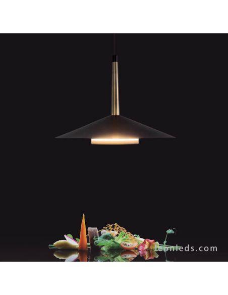Lámpara de techo LED Orion 7305 Mantra negra y cuero | LeonLeds Iluminación