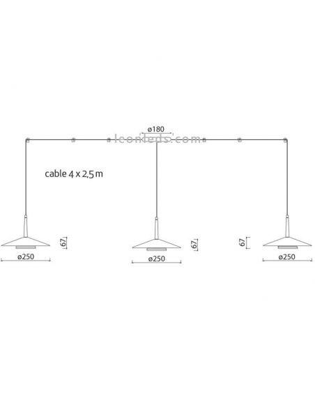 Dimensiones Lámpara de techo LED 4 Pantallas Orion 7307 Mantra | LeonLeds Iluminación