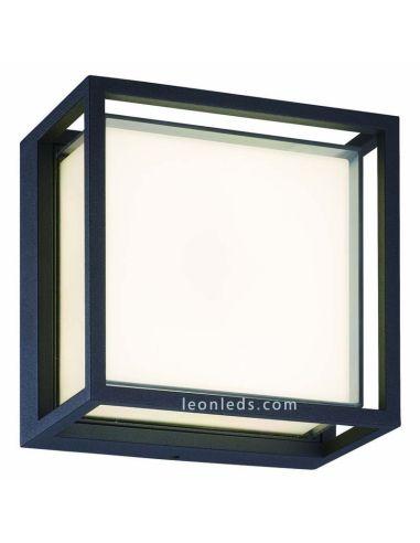Plafón Aplique exterior cuadrado LED gris oscuro Chamonix 7060 Mantra | LeonLeds Iluminación