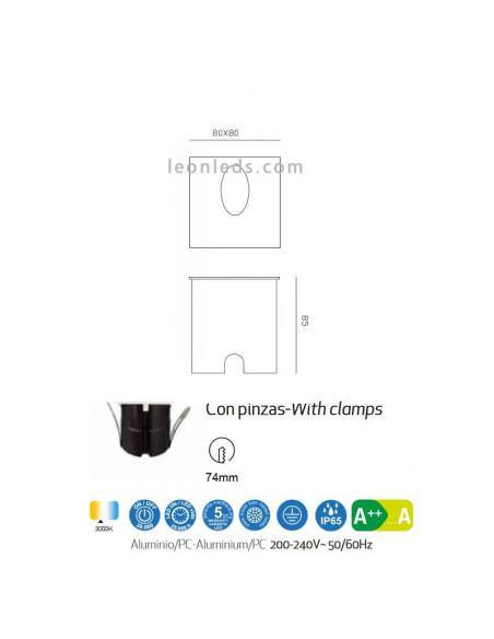 Dimensiones Empotrable LED exterior cuadrada Aspen | LeonLeds Iluminación