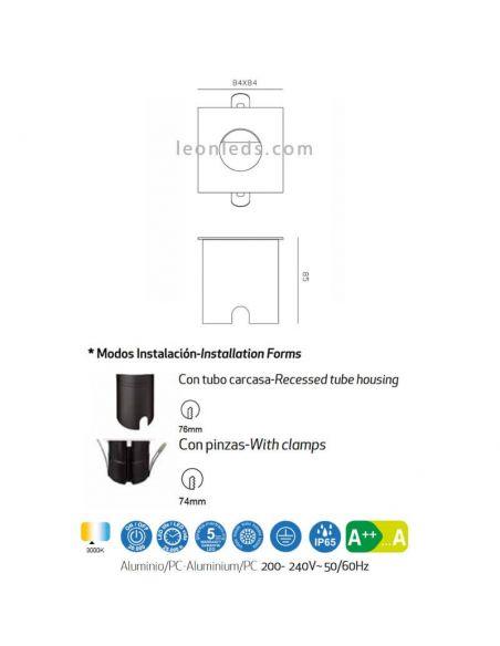 Dimensiones Empotrable LED de señalización exterior Aspen Mantra 7030 7031 7032 | LeonLeds Iluminación