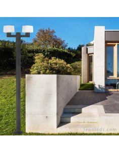 Farola de jardín con 2 brazos Muffin Faro Barcelona | LeonLeds Iluminación
