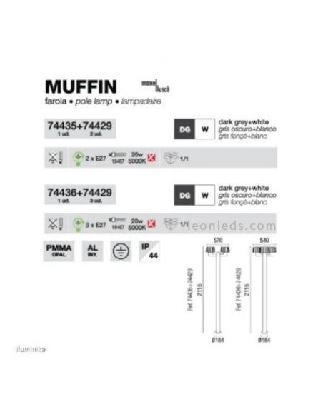 Dimensiones Farola de jardín Muffin con 3 brazos Faro Barcelona | LeonLeds Iluminación