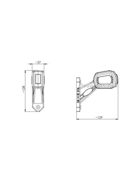 Dimensiones Cuerno LED remolque 3 funciones corto Horpol | LeonLeds Iluminación
