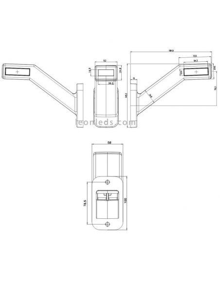 Dimensiones Cuerno LED largo con intermitente W168 categoría 5 | LeonLeds Iluminación