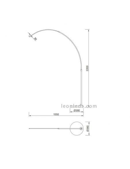 Dimensiones Soporte de pie exterior Kinke 6218 | LeonLeds Iluminación