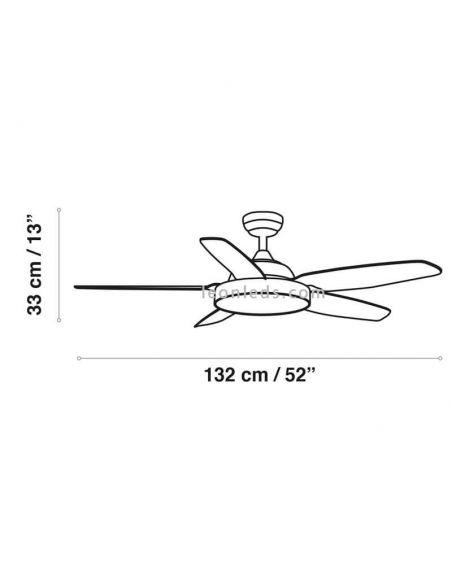 Dimensiones Ventilador de techo LED potente Mistral ACB Iluminación | LeonLeds Iluminación