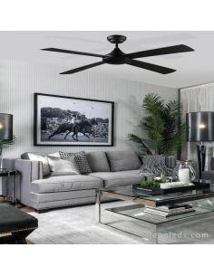 Ventilador de techo negro y madera Raki ACB Iluminación | LeonLeds Iluminación
