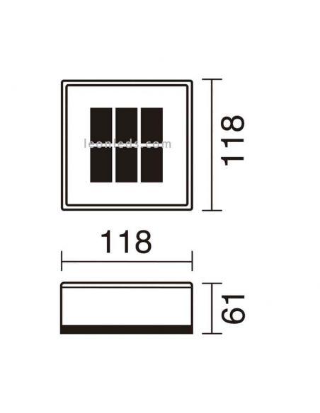 Dimensiones Baliza LED solar exterior cuadrada UTU   LeonLeds Iluminación