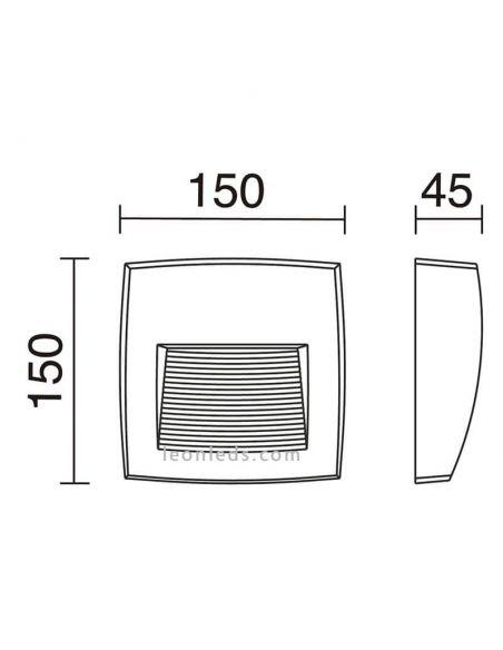 Dimensiones Aplique LED de superficie exterior cuadrado Storm S Dopo Lighting | LeonLeds Iluminación