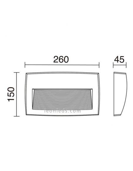 Dimensiones Aplique LED rectangular exterior Storm Dopo Lighting | LeonLeds Iluminación