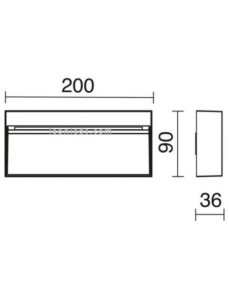 Dimensiones Aplique LED exterior 7W 3 Colores Abar | Dopo Lighting