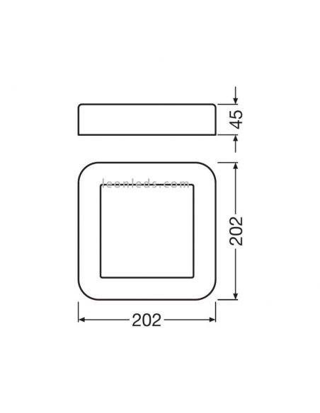 Dimensiones Aplique LED cuadrado blanco Surface Square LedVance | LeonLeds Iluminación