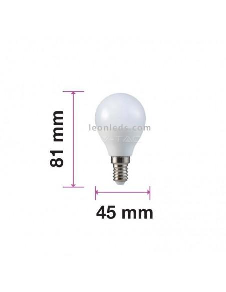 Dimensiones Bombilla LED esférica E14 P45 7W 600Lm Vtac Pro | LeonLeds Iluminación LED