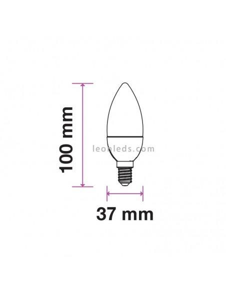 Bombilla LED E14 Vela 5.5W 6400K Luz Fría Vtac gama Pro Opaca | LeonLeds Iluminación LED