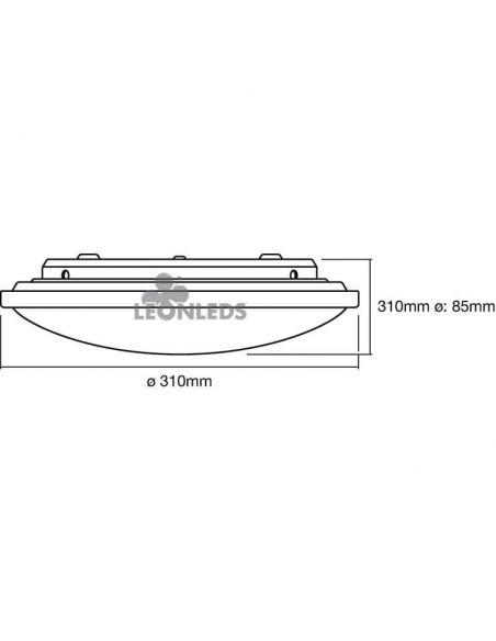 Dimensiones Plafón LED 16W color de luz regulable mediante interruptor Click CCT Orbis LedVance | LeonLeds Iluminación