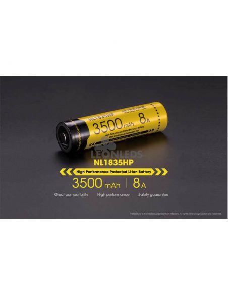 Batería de Litio 18650 3500 mAh Nitecore NL1835HP recargable desarrollo protegido | LeonLeds Baterías