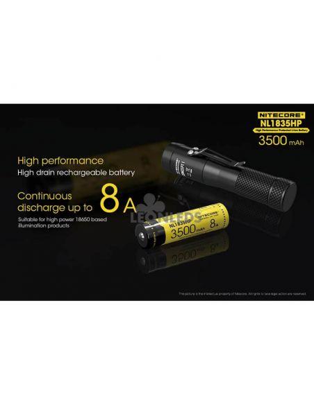 Batería de Litio 18650 3500 mAh Nitecore NL1835HP recargable alto rendimiento | LeonLeds Baterías