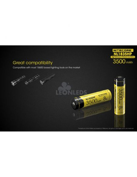 Batería de Litio 18650 3500 mAh Nitecore NL1835HP recargable compatible con 18650| LeonLeds Baterías