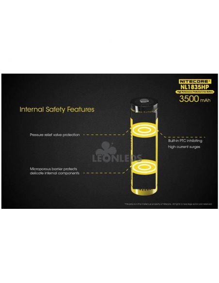 Batería de Litio 18650 3500 mAh Nitecore NL1835HP recargable características de seguridad internas  LeonLeds Baterías