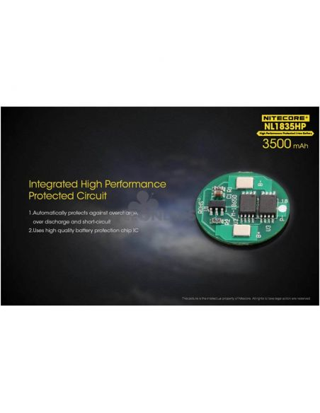 Batería de Litio 18650 3500 mAh Nitecore NL1835HP recargable circuito de seguridad integrado | LeonLeds Baterías