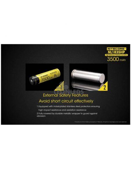 Batería de Litio 18650 3500 Mah Nitecore NL1835HP recargable caracteristicas de seguridad externas   LeonLeds Baterías