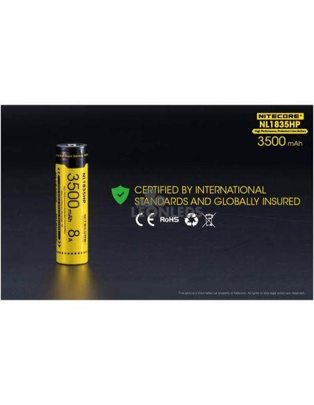 Batería de Litio 18650 3500 Mah Nitecore NL1835HP recargable certificados de calidad internacional   LeonLeds Baterías