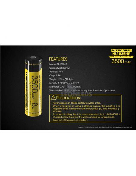Batería de Litio 18650 3500 mAh Nitecore NL1835HP recargable caracteristicas y precauciones | LeonLeds Baterías