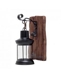 Aplique Rustico marrón de madera metal y cristal Cortijo Fabrilamp | LeonLeds Iluminación